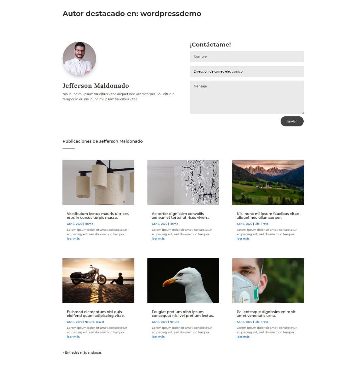 Crear páginas de autor personalizadas con el Theme Builder de Divi ejemplo