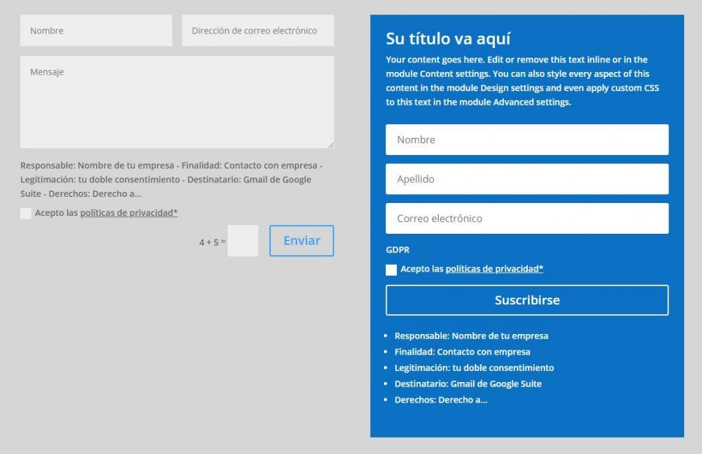 Adaptar los formularios Divi a la RGPD Europea