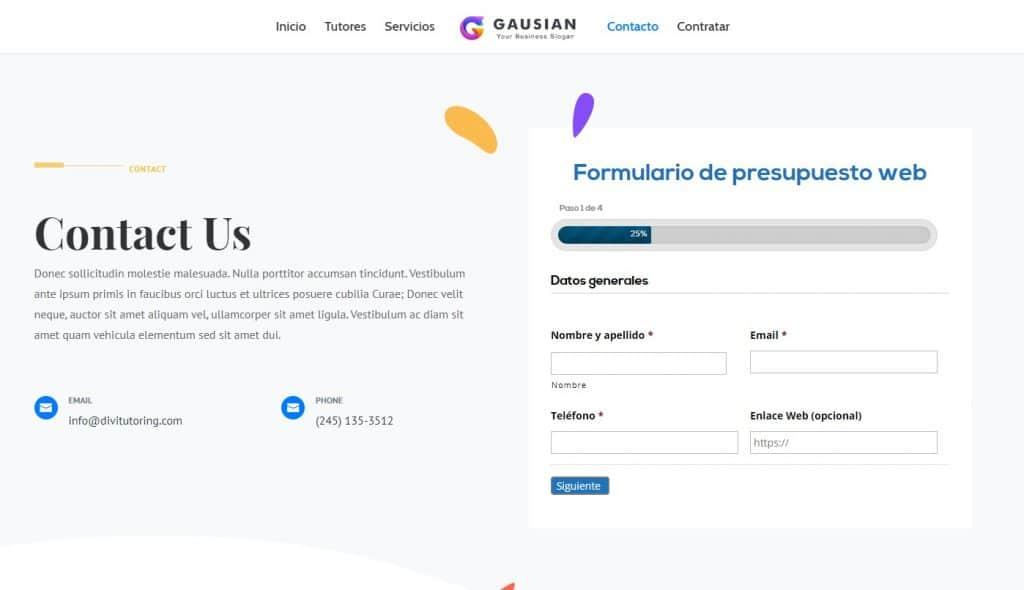 Formulario de presupuesto de Diseño web con Gravity Forms + Divi 1