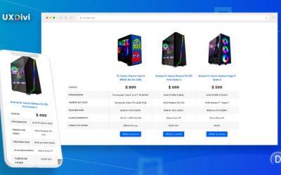 Cómo crear tabla comparativa para productos de Woocommerce con Divi
