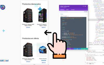 Hacer un Swipe (deslizado) horizontal de productos de Divi en Móvil
