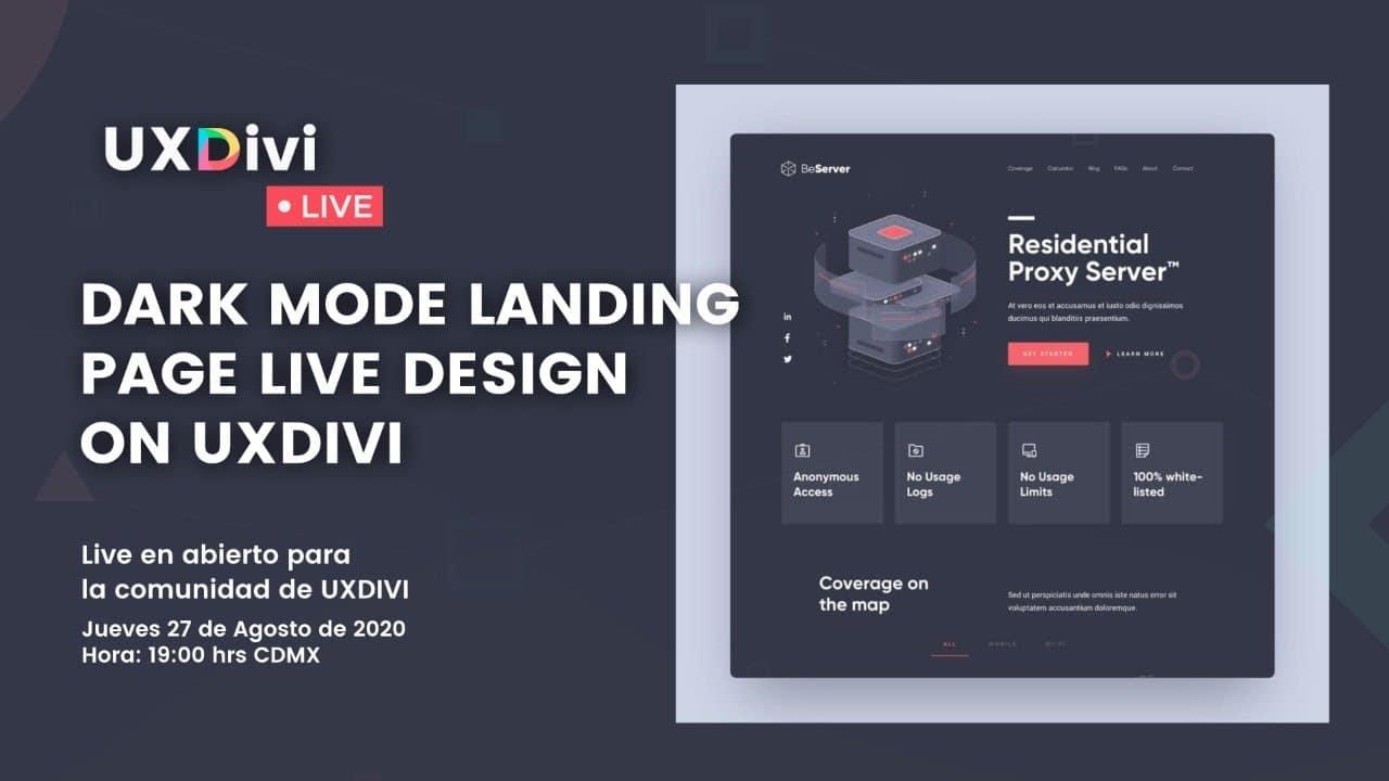 Diseño de Landing page estilo Dark Mode con divi en vivo #uxdivilivedesign