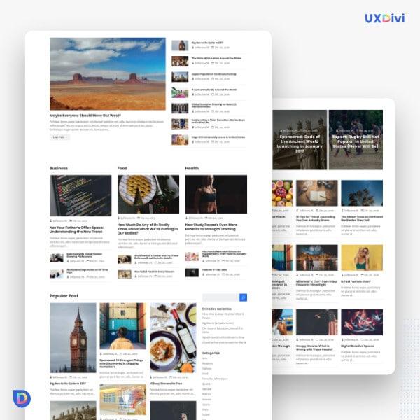 Blog estilo magazzine en Divi
