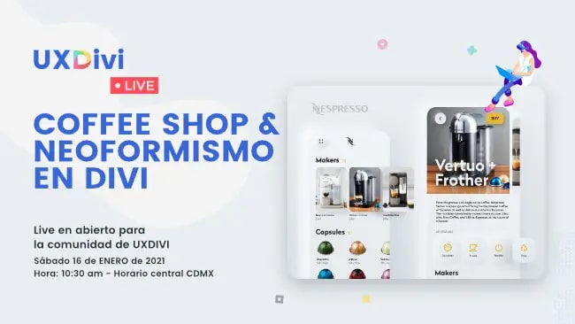 Diseño de coffee shop con neoformismo en Divi – #UXDiviLiveDesign