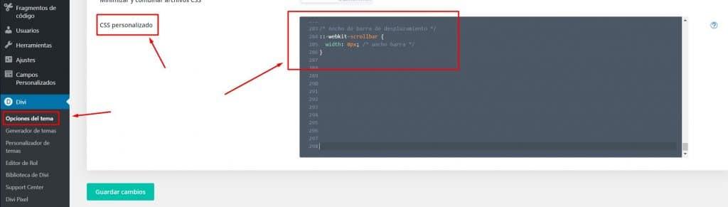 Personalizar la barra de desplazamiento de Divi opciones de Divi