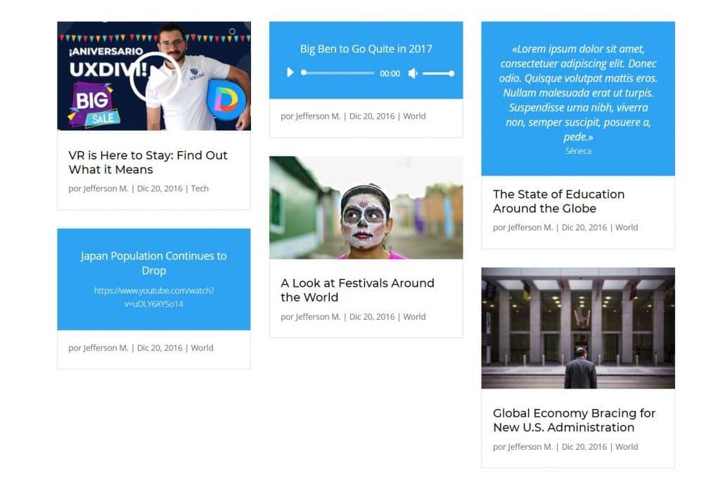 Formatos de entradas en Divi y cómo usarlos en tu Blog Todos