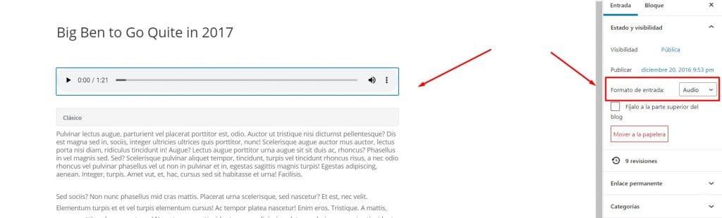 Formatos de entradas en Divi y cómo usarlos en tu Blog - Audio