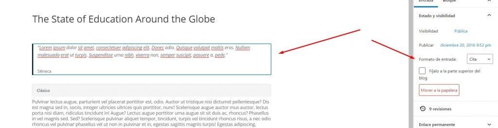 Formatos de entradas en Divi y cómo usarlos en tu Blog - Cita