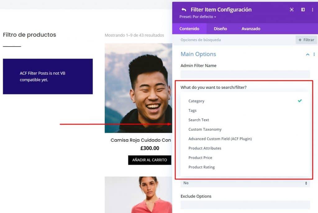 Crear Filtros en tienda online en Divi con Divi Ajax Filter categorias