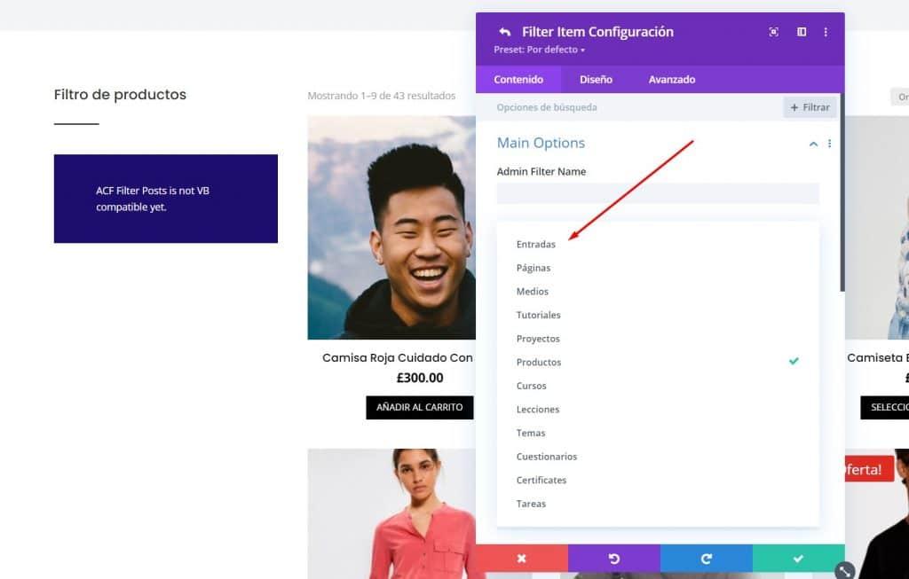 Crear Filtros en tienda online en Divi con Divi Ajax Filter opciones