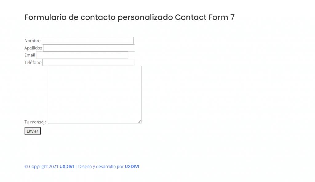 Antes - Cómo personalizar el formulario de contacto de Contact Form 7