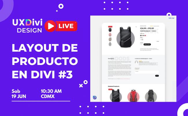 Diseño en vivo de Layout de producto #3 con el Theme Builder de Divi