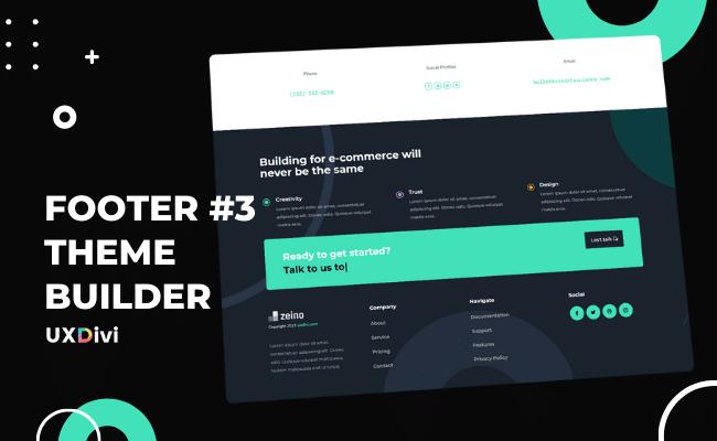 Footer personalizado #3 con el Theme Builder de Divi