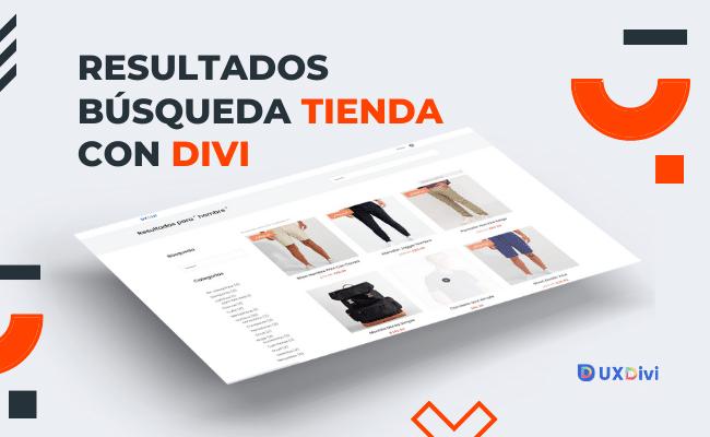 Resultados de búsqueda de productos en tienda online con Divi