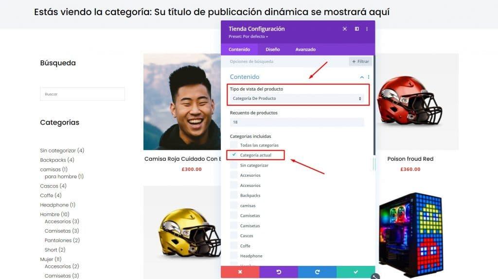 Crear un layout de categorías de productos en tienda con el Theme Builder de Divi