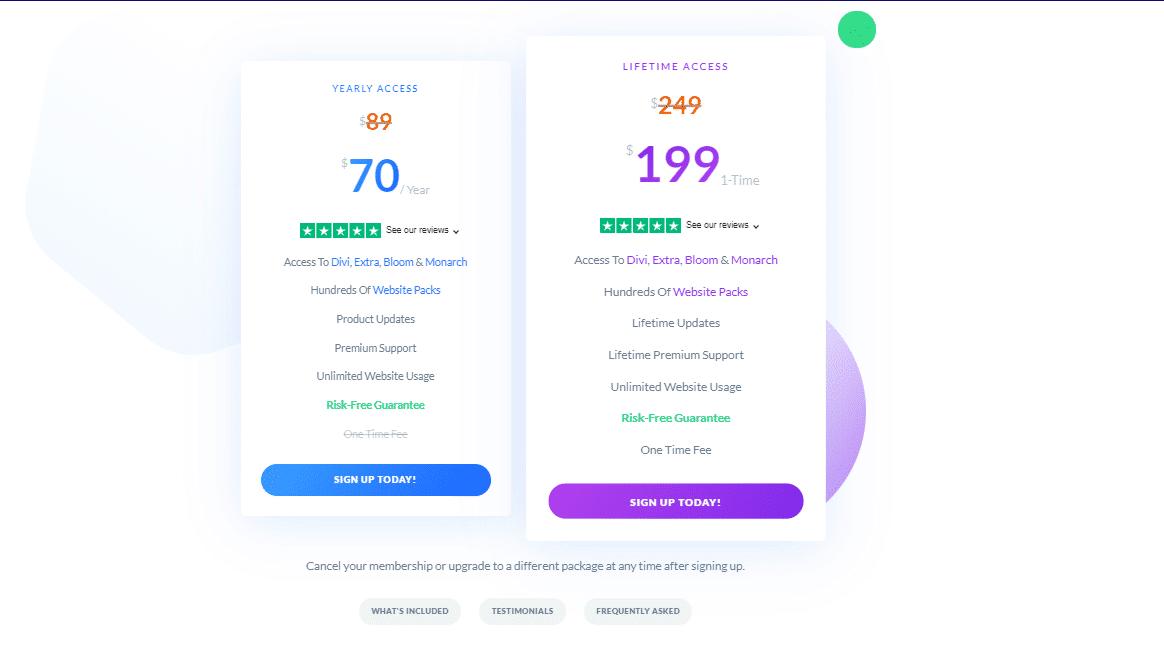 Precios de suscripción de Divi