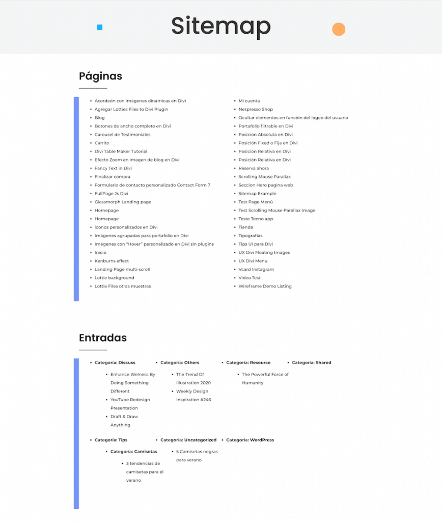 Crear una página de sitemap en WordPress